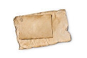 istock Mock up of empty old vintage yellowed paper sheets with clip 1129071237