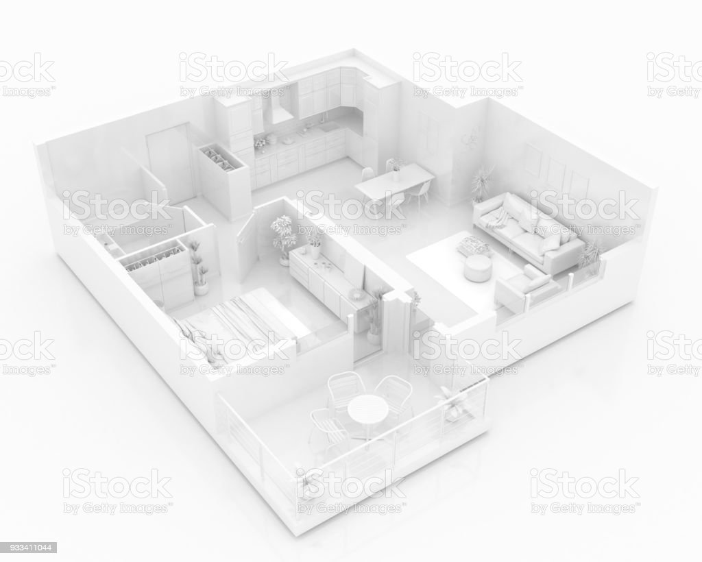 Mock up of furnished home apartment, paper model 3d illustration stock photo