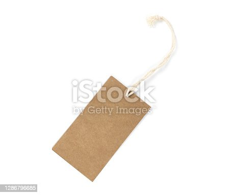 Mock up of paper label tag on a rope isolated on white background texture.