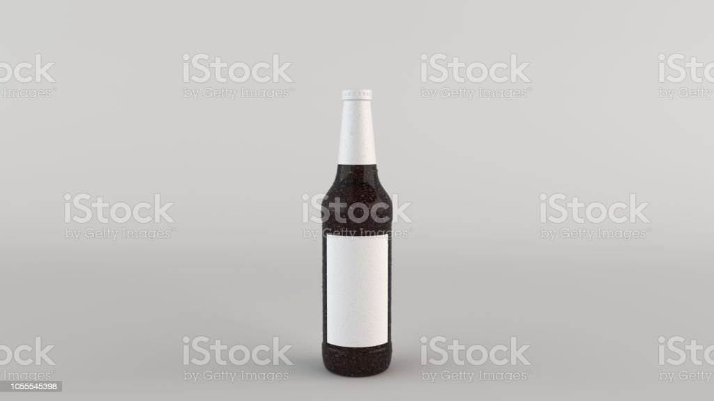 Mock up of tall brown beer bottle 0.5l with condensation blank white...