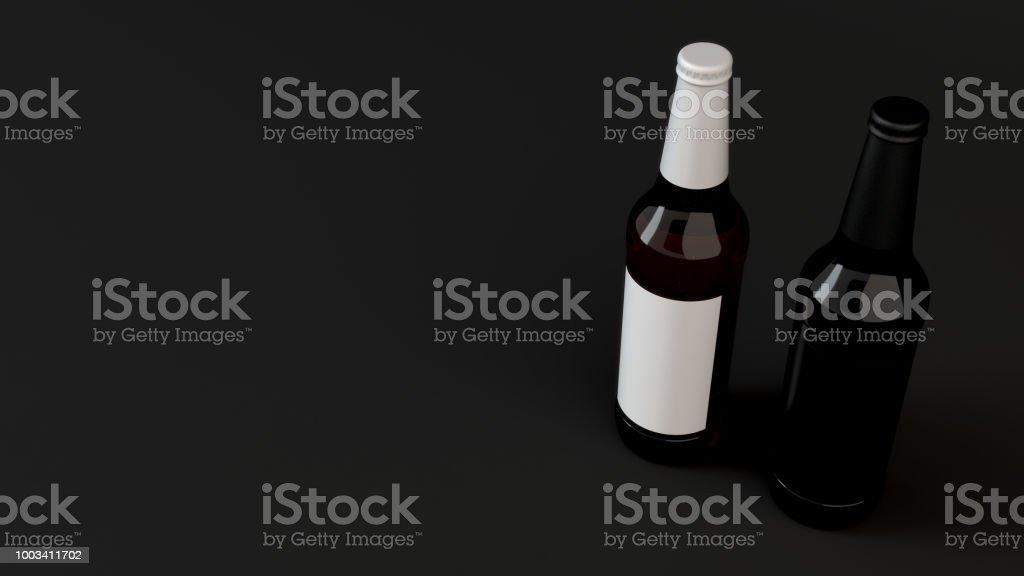 Mockup Von Zwei Bierflaschen Mit Leeren Etiketten Stockfoto