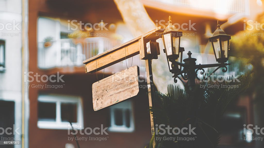 Mock up of wooden billboard stock photo