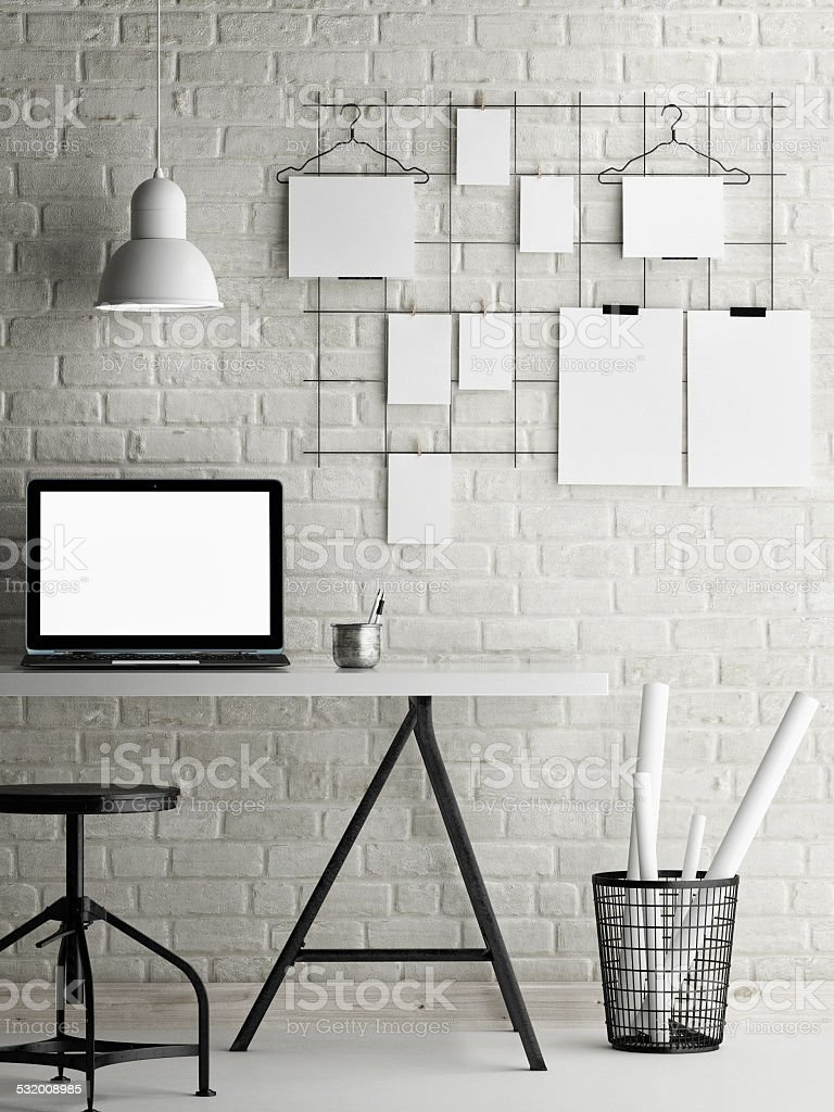 Mock up office, loft background stock photo