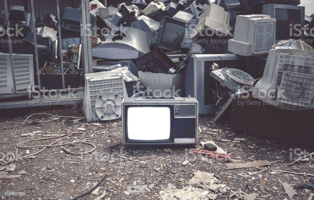 Mock up old tv screen. Unwanted televisions piled up for recycling at...
