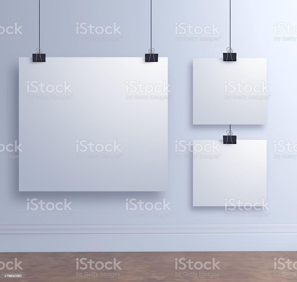 Mock Up Poster Aufhängen Papier An Die Weiße Wand Stockfoto Und Mehr