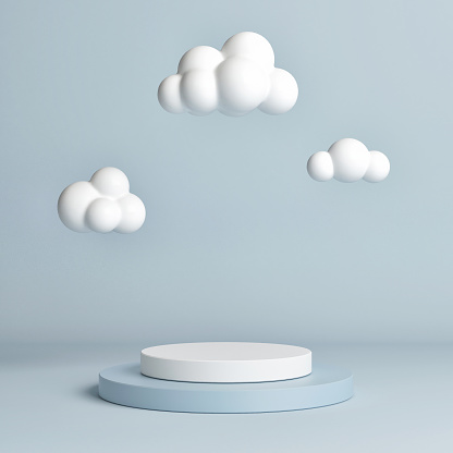 istock Mock up pedestal, abstract winner podium geometry concept 1173658850