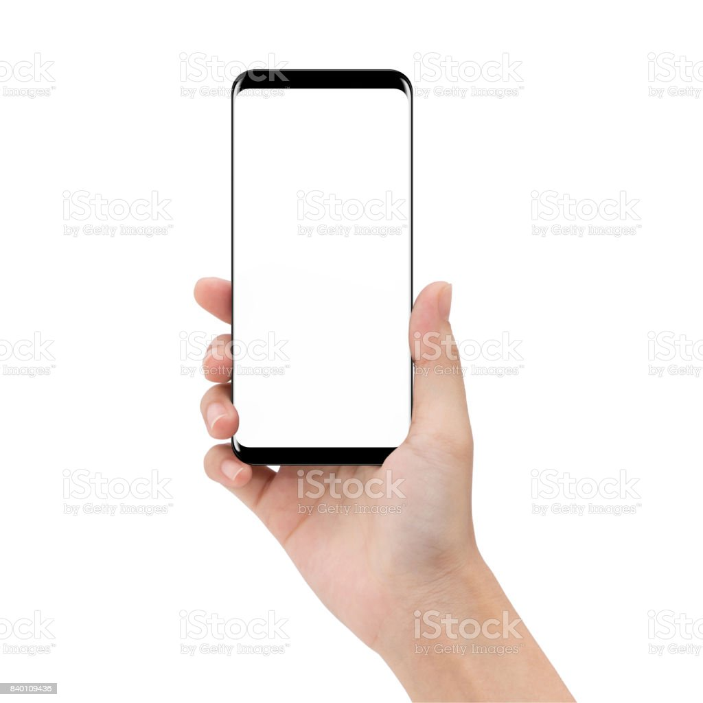 mock up phone in holding hand isolated on white background clipping path inside stock photo