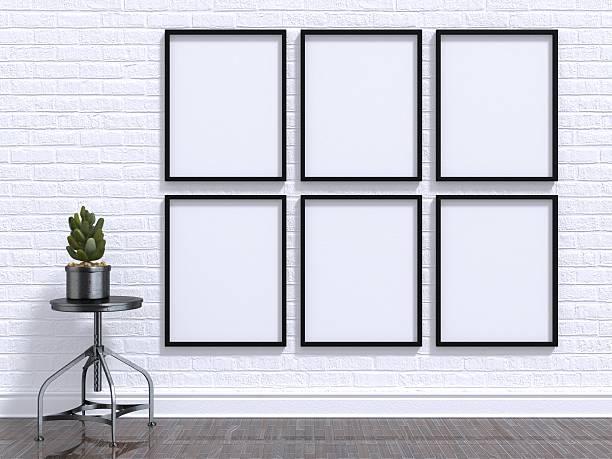 mock up foto frame mit pflanze, hocker, etage und wall - bilder poster stock-fotos und bilder