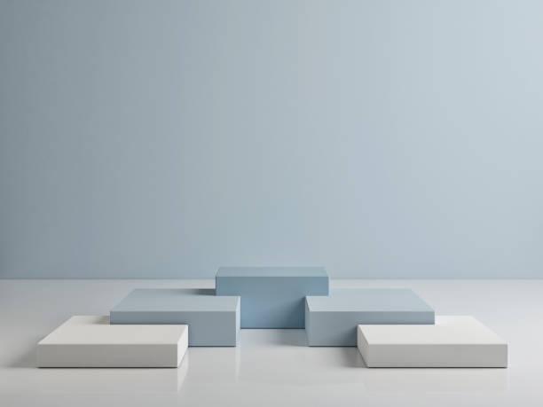 Podium verspotten, abstrakt weiß und blau – Foto
