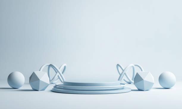 Mock up Podium für Produkt, geometrische Elemente, blauen Hintergrund – Foto