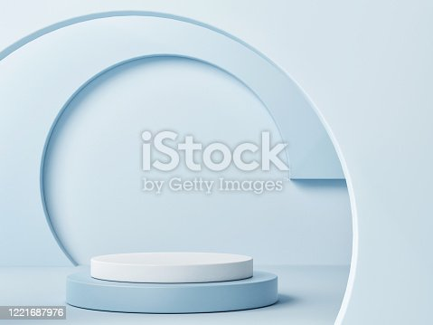 istock Mock up podium for product presentation, blue background 1221687976