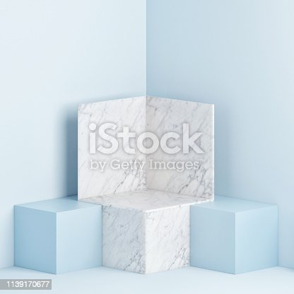 1079254746istockphoto Mock up podium scene, blue background 1139170677