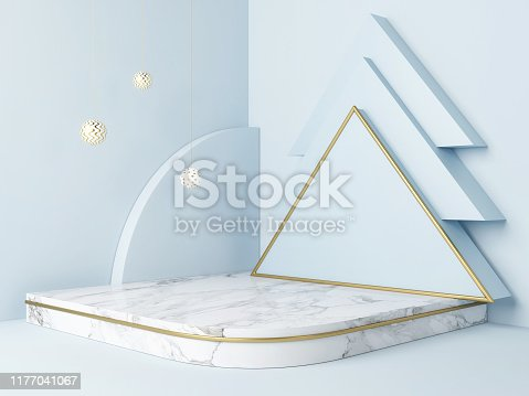 istock Mock up podium, winner concept, Christmas tree,  blue background 1177041067