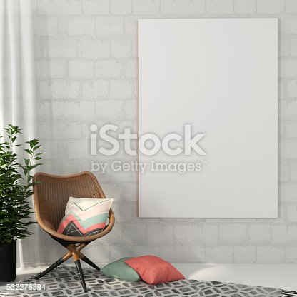 Mock up  poster on white brick wall and chair made of rattan