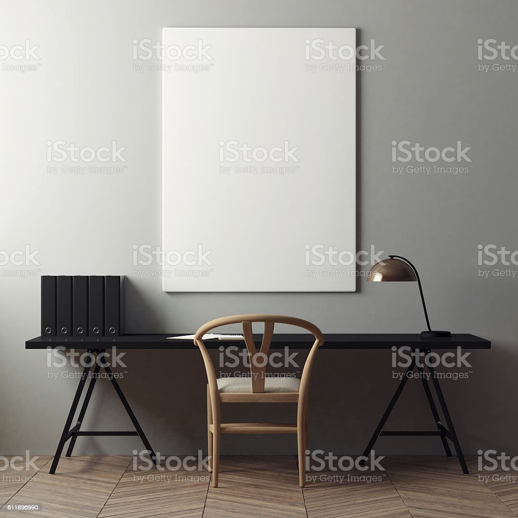 mock up poster and office desk stock photo