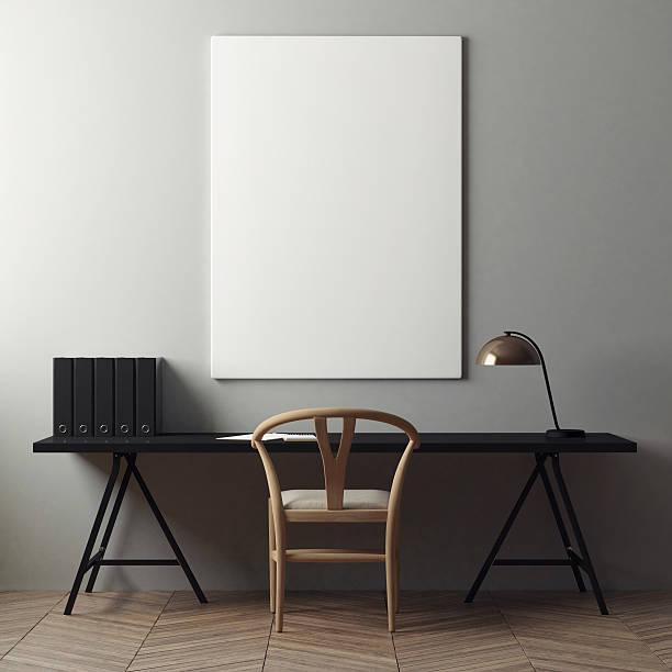 mock up poster and office desk - tafel schlafzimmer stock-fotos und bilder