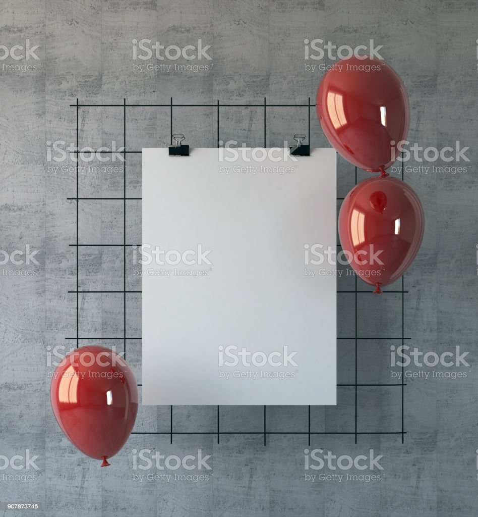 mock up poster as a party invitation stock photo