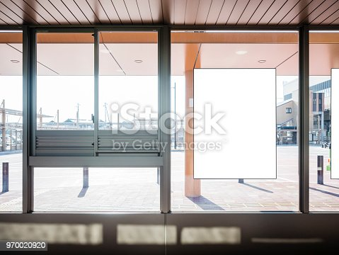 istock Mock up Poster Banner at Bus Station Media outdoor 970020920