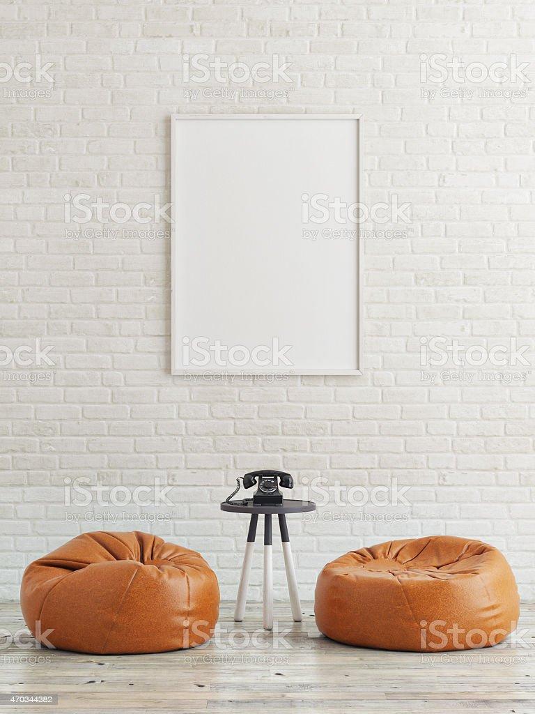 mock up poster, black telephone, 3d illustration stock photo