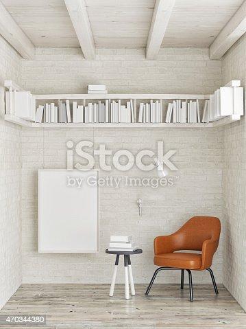 istock Mock up poster, bookshelf on white brick wall, 3d illustration 470344380