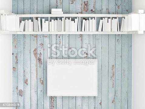 istock Mock up poster, bookshelf on white wooden wall, 3d illustration 470344378