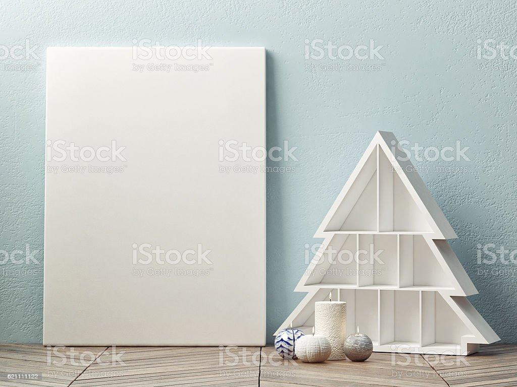 Mock up poster, christmas trees scandinavian design stock photo