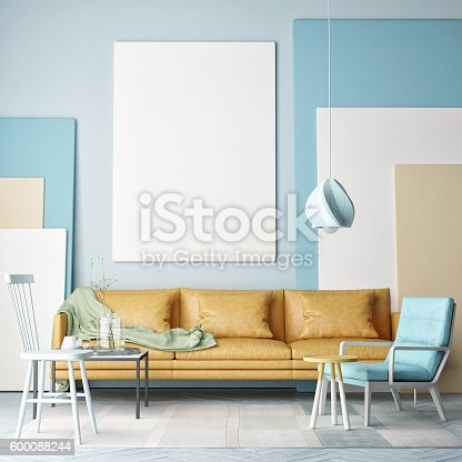 istock Mock up poster, colorful composition in room 600088244
