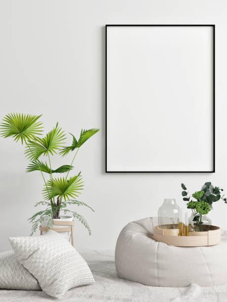 Mock-up Poster, Konzept Innenarchitektur, Palm und bequemen Sessel – Foto