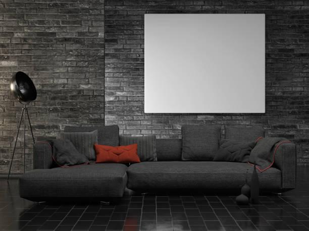 Poster aufschlagen, düsteres Innenkonzept, Backsteinwand – Foto