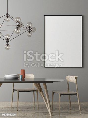 923497490istockphoto Mock up poster, Dinning room Scandinavian design 933886226