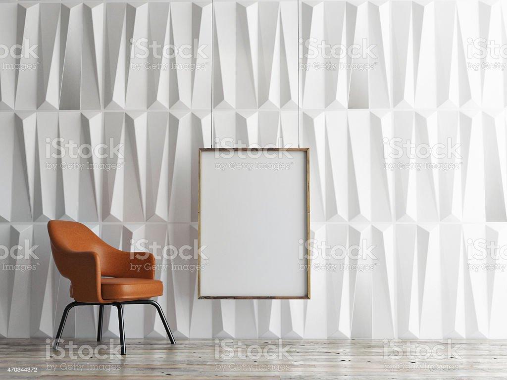 mock up poster, empty interior design, 3d illustration stock photo