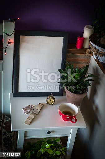619975932 istock photo Mock up poster for your artwork, interior composition 526143432