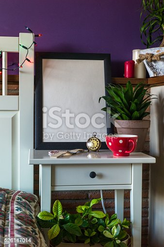 619975932 istock photo Mock up poster for your artwork, interior composition 526147014