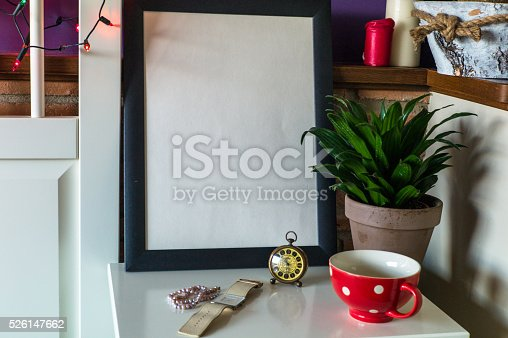 619975932 istock photo Mock up poster for your artwork, interior composition 526147662