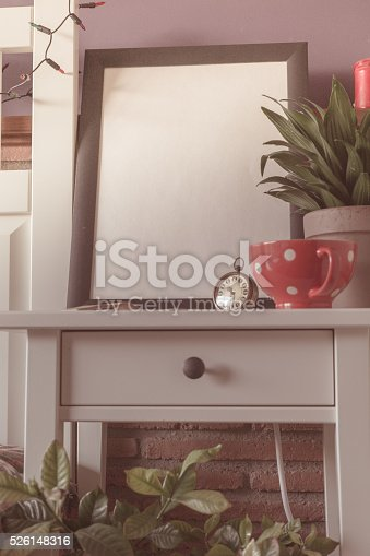 619975932 istock photo Mock up poster for your artwork, interior composition 526148316