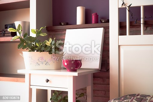 619975932 istock photo Mock up poster for your artwork, interior composition 526150878