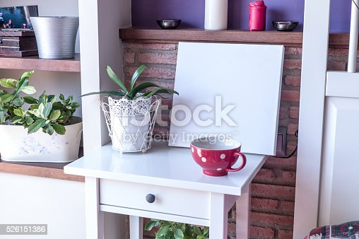 619975932 istock photo Mock up poster for your artwork, interior composition 526151386