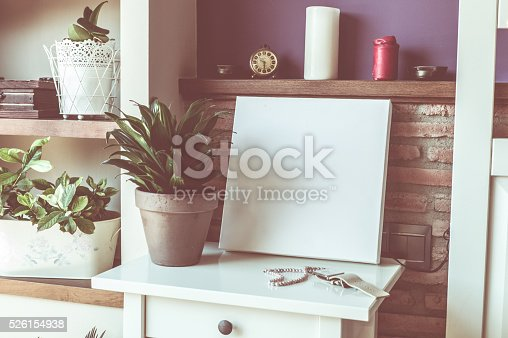 619975932 istock photo Mock up poster for your artwork, interior composition 526154938