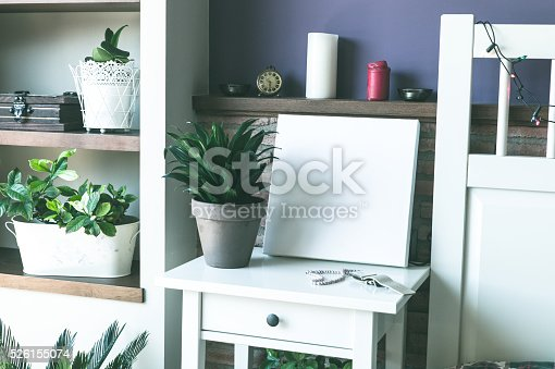 619975932 istock photo Mock up poster for your artwork, interior composition 526155074