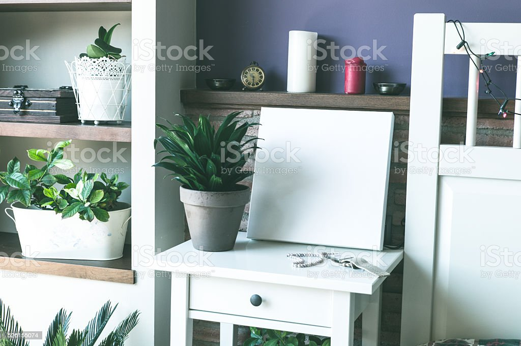 Mock up poster for your artwork, interior composition stock photo