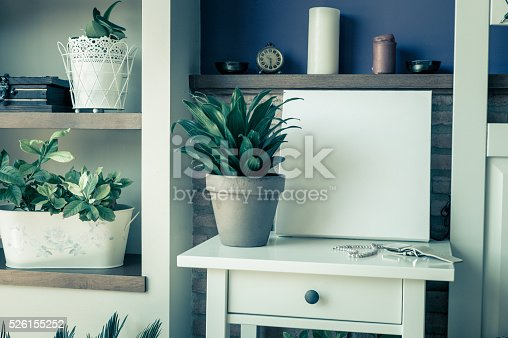 619975932 istock photo Mock up poster for your artwork, interior composition 526155252
