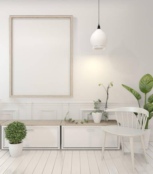mock-up posterrahmen und schrank und dekoration pflanzen auf weißen raum minimale design.3d rendering - anrichte weiß stock-fotos und bilder