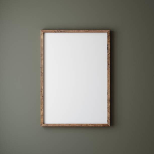 mock up poster cornice da vicino su parete dipinto di colore verde scuro - intelaiatura foto e immagini stock