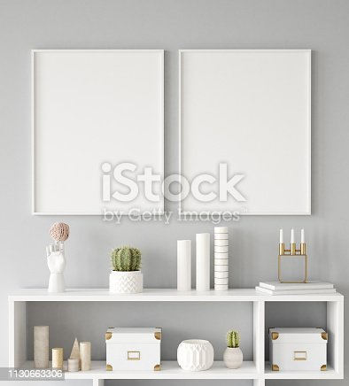 istock Mock up poster frame closeup in interior background, Scandinavian style 1130663306