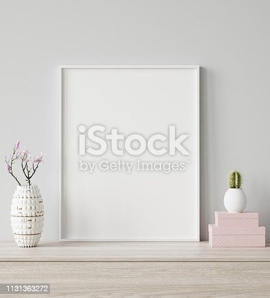 istock Mock up poster frame closeup in interior background, Scandinavian style 1131363272