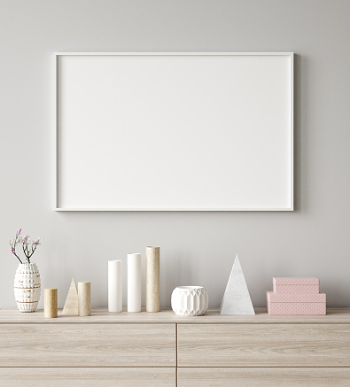 Mock up poster frame closeup in interior background, Scandinavian style, 3d render