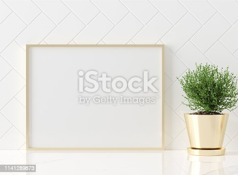 istock Mock up poster frame close-up in kitchen interior, American style 1141289873
