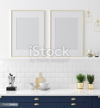 istock Mock up poster frame close-up in kitchen interior, American style 1141289900