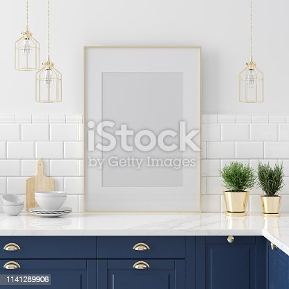 istock Mock up poster frame close-up in kitchen interior, American style 1141289906