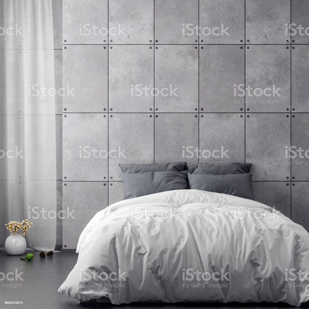 Mock up poster frame in bedroom interior background and concrete wall, 3D illustration zbiór zdjęć royalty-free